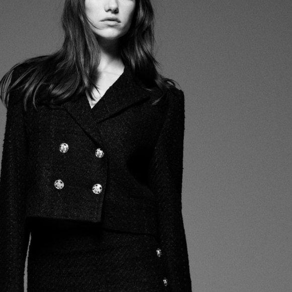 Zara Cropped Textured Blazer